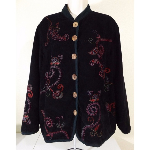 White Stag Jackets & Blazers - * Paisley Embroidered Corduroy Jacket